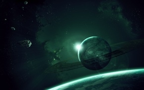 Picture stars, planet, ring, asteroids, gas giant