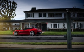 Picture Corvette, Chevrolet, House, Red, Car, Street, Sport, Stingray, 2014, Rear