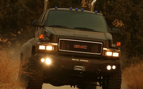 Picture road, dust, transformer, the bushes, pickup, huge, transformers, ironhide, c4500, topkick, gmc, road armor, ironhide