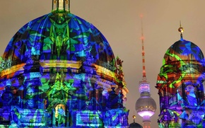 Picture tower, Germany, Cathedral, Berlin, The festival of lights