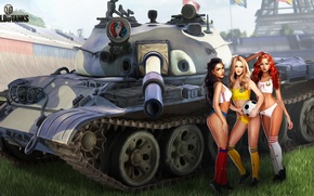 Wallpaper Belarus, T-62A, girls, grass, football, the ball, Ukraine, tank, field, championship, figure, World of Tanks, ...