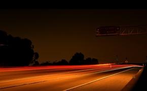 Wallpaper lights, night, highway, Road