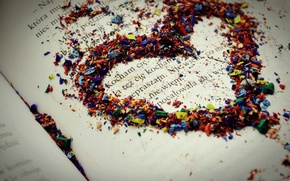Wallpaper macro, sheet, colorful, heart, paper, the inscription, feeling, love, book, pencils, text, love, chips, line