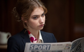 Picture the film, actress, brunette, costume, Dirt, newspaper, the role, Imogen Poots, Imogen Poots, Filth