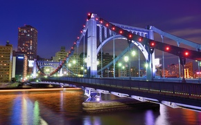 Picture megapolis, skyscrapers, capital, lighting, lights, capital, night, building, river, Tokyo, Japan, bridge, home, Japan, blue, ...