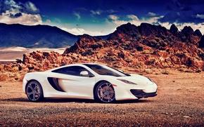 Picture McLaren, white, MP4-12C, profile
