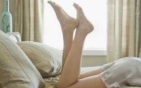 Wallpaper photo, mood, Wallpaper, feet, watch, pillow, morning, dress, window, bed, heels
