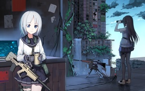 Picture the city, weapons, girls, home, anime, art, mug, binoculars, form, Schoolgirls, yuri shoutu
