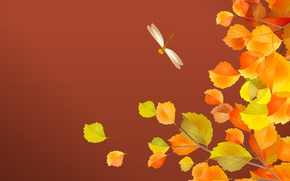 Wallpaper leaves, dragonfly, autumn