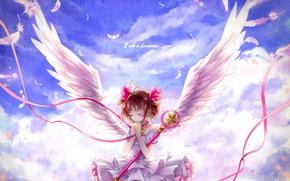 Wallpaper feathers, tape, wings, art, momoko, anime, kinomoto sakura, card captor sakura, girl, the sky, clouds