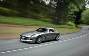 Picture road, trees, speed, mercedes, benz, sls, amg