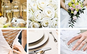 Picture flowers, holiday, collage, glasses, wedding