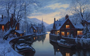Picture winter, snow, mountains, river, home, boats, the evening, ate, twilight, painting, chapel, tree, river, trees, ...