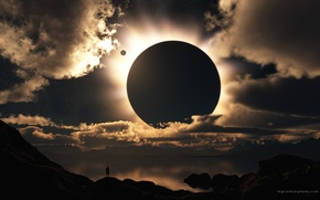 Wallpaper people, light, solar Eclipse, clouds