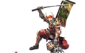 Picture skull, katana, armor, mask, samurai, white background, horns, gloves, Soul Calibur, banner, Yoshimitsu
