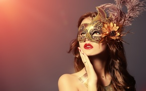 Picture look, girl, background, hand, feathers, makeup, lipstick, mask