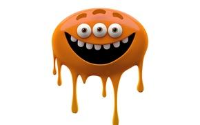 Picture joy, bright smiling monster on a white background, orange monster slug