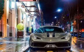 Picture wet, machine, drops, light, night, the city, lights, street, France, Paris, wet, Ferrari, Paris, 458, …