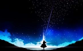 Picture night, art, silhouette of a girl, Miyuki Harada