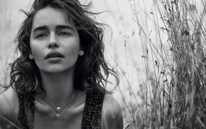 Picture grass, nature, photo, actress, black and white, Emilia Clarke, Emilia Clarke, Dior, Lachlan Bailey