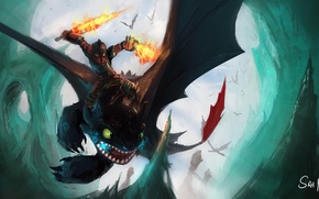 Picture flight, dragon, armor, boy, swords, How to train your dragon