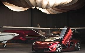 Picture red, Lamborghini, hangar, red, the plane, Lamborghini, LP700-4, Aventador, Lamborghini, aventador, Mansory, LB834