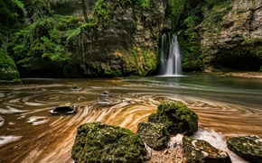 Picture rock, stream, stones, waterfall, moss, Switzerland, The Tine of Conflens