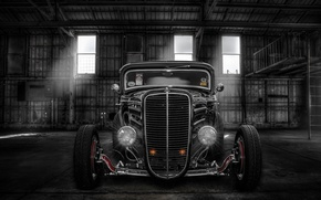 Picture retro, lights, hangar, classic, the front, hot-rod, classic car