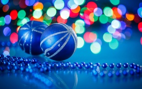 Picture lights, balls, blue, new year, beads