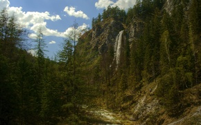 Picture the sky, clouds, trees, mountains, rock, waterfall, Nature, ate, tourists