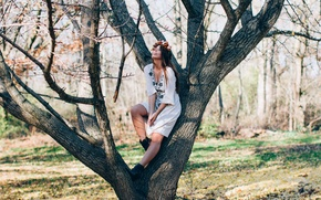 Picture girl, tree, wreath