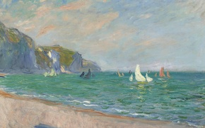 Picture landscape, picture, Claude Monet, Sailboats on the Coast in Purvile
