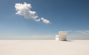 Picture the sky, clouds, desert, shadow, chair, horizon