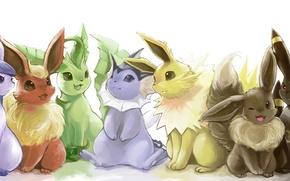 Picture anime, pokemon, pokemon, umbreon, flareon, glaceon, jolteon, leafeon, espeon, vareon