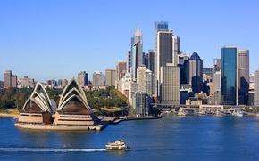 Wallpaper sea, the sky, landscape, nature, the city, river, the building, Sydney, attraction, Australia, Opera house