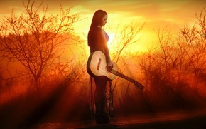Picture girl, light, guitar