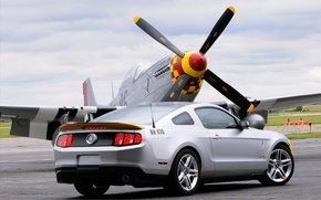 Wallpaper the plane, Mustang, Ford, AV-X10, propeller