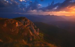 Picture Clouds, Sky, Landscape, Sunset, Georgia, Caucasus, Racha