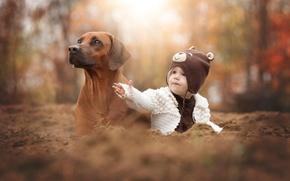Picture autumn, dog, friends, child