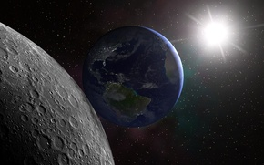 Picture space, surface, The sun, The moon, Earth
