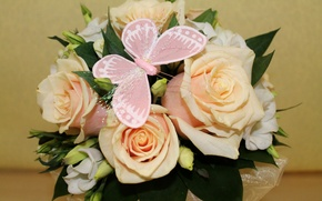 Picture flowers, photo, butterfly, roses, bouquet, freesia