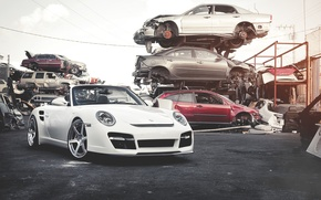 Wallpaper car stuff, car bodies, the front part, white, white, dump, Porsche, 911, Porsche, Roadster, Turbo, ...