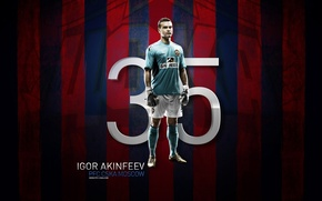 Picture football, captain, goalkeeper, Akinfeev, goalkeeper, red-blue, CSKA, The Premier League, CSKA, room 35