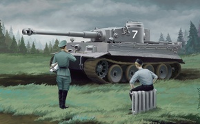 Picture figure, Tiger, soldiers, tank, Art, radiator, Tiger, officer, tanker, German, The second World war, heavy, …