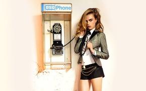 Wallpaper look, model, hair, actress, blonde, phone, cara delevingne