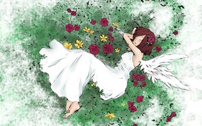 Picture grass, sleep, wings, girl, flowers, white dress, art, barefoot, South To Destroy Them, Besides The …
