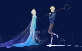 Picture girl, art, Frozen, guy, Rise of the Guardians, Rise of the guardians, Jack Frost, Elsa, …