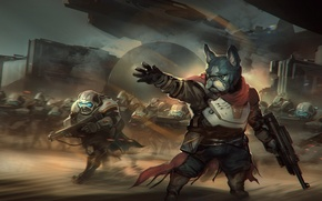 Picture weapons, fiction, army, warrior, art, soldiers, bulldog, helmet, armor