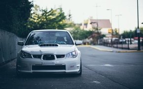 Picture turbo, white, subaru, japan, wrx, impreza, jdm, tuning, power, sti, low, stance, dropped