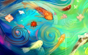 Wallpaper water, fish, fish, flowers, abstraction, art